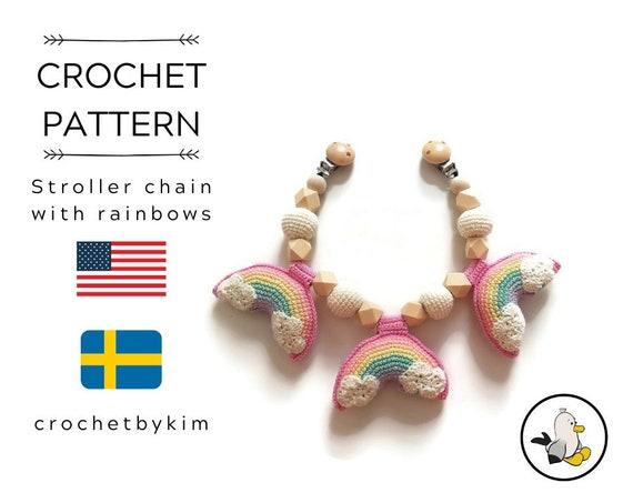 CROCHET PATTERN - stroller chain rainbows  - amigurumi rainbow pastell - mobile - pram chain - garland - kinderwagenkette - pdf