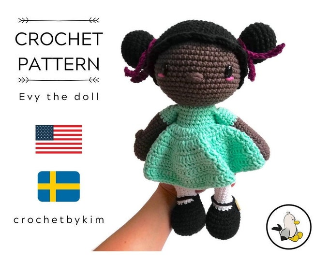 AMIGURUMI DOLL PATTERN • Evy the doll • crochet pattern • Instant Download • interior doll pattern • crochetbykim