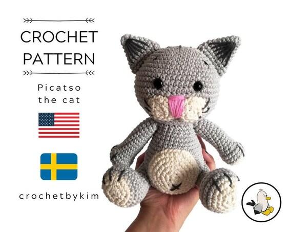 CROCHET PATTERN - amigurumi cat - Picatso - tutorial - kitten - kitty - cat lover - crochetbykim - pdf - digital pattern