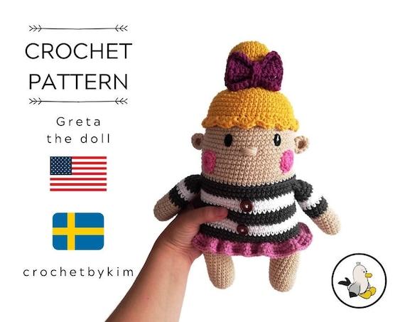 AMIGURUMI DOLL PATTERN • Greta the doll • crochet pattern • Instant Download • interior doll pattern • crochetbykim