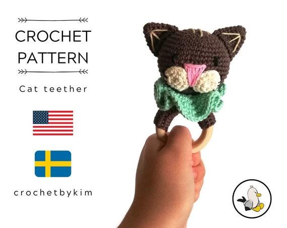 AMIGURUMI CROCHET PATTERN • Cat teether • Cat rattle • Crochet amigurumi rattle teether ring •  CrochetByKim