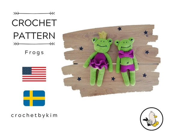 Crochet pattern - amigurumi frog - frog with bow tie - frog with dress and crown - handmade - diy - amigurumi pattern