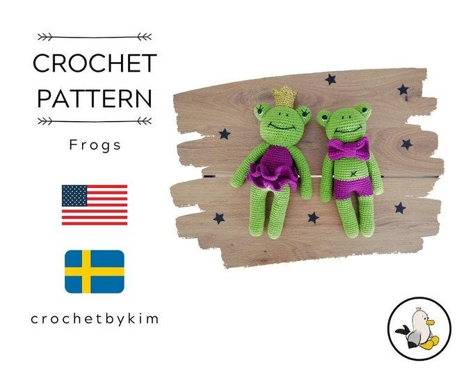 Crochet pattern - amigurumi frog - frog with bow tie - frog with dress and crown - handmade - diy - amigurumi pattern