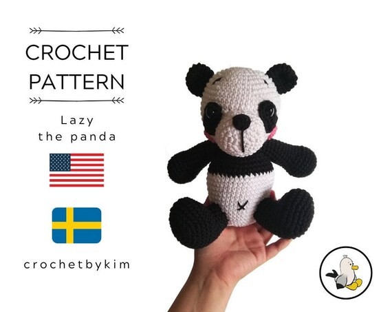 CROCHET PATTERN - Lazy the Panda - amigurumi panda - panda plushie - panda bear - stuffed panda - toy panda - pdf pattern - digital pattern