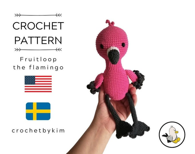 CROCHET PATTERN - fruitloop the flamingo - amigurumi pattern - crochet bird - Flamingo stuffed bird - stuffed bird - plush bird - pdf