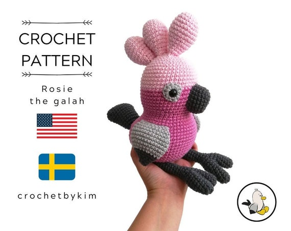 AMIGURUMI CROCHET PATTERN • Rosie the Galah bird • amigurumi pattern • Rose Cockatoo • Australian Parrot • Aussie animal • stuffed toy • pdf