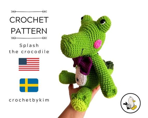 CROCHET PATTERN - amigurumi crocodile - Splash the crocodile - alligator - reptile - green amigurumi - crochetbykim