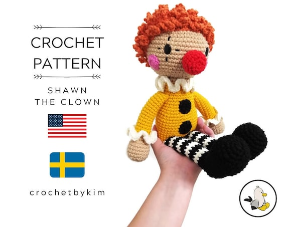 AMIGURUMI DOLL PATTERN • Shawn The Clown • crochet pattern • Instant Download • interior doll pattern • crochetbykim