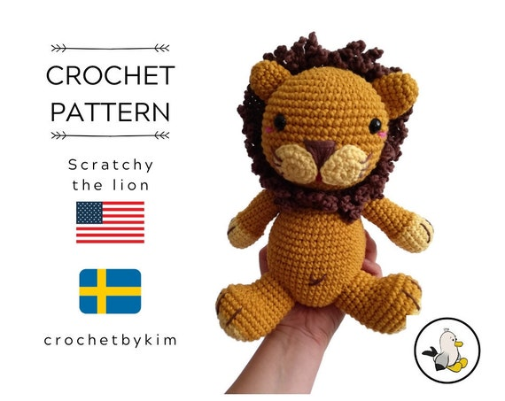 Crochet pattern - lion - amigurumi - SCRATCHY THE LION - zoo - jungle animal  - stuffed lion - crochet lion - handmade lion - pdf