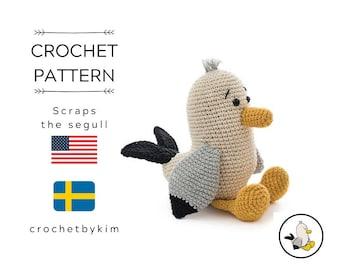 AMIGURUMI CROCHET PATTERN • scraps the seagull • amigurumi pattern • amigurumi bird • zoomigurumi • crochet animal • stuffed toy • pdf