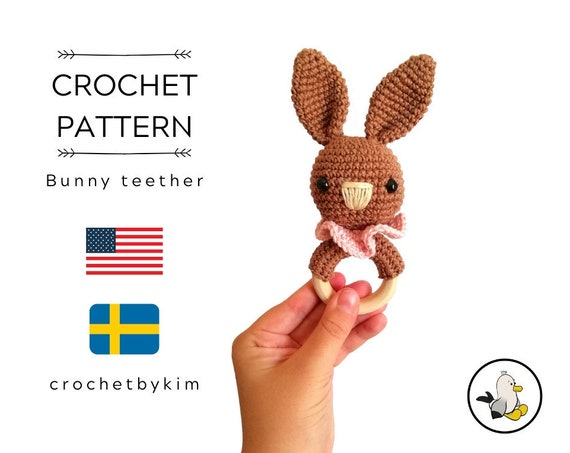 Crochet pattern - Bunny teether - rattle - amigurumi - baby toy