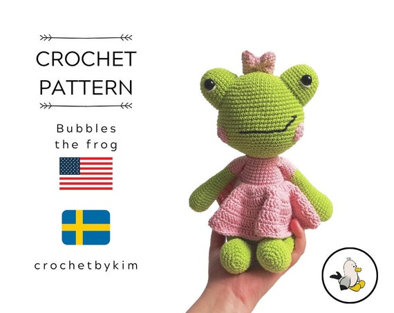 CROCHET PATTERN • Bubbles the frog  • Amigurumi Frog Pattern • Crochet Animal • Doll Toad • English US terms • Pdf Instant download