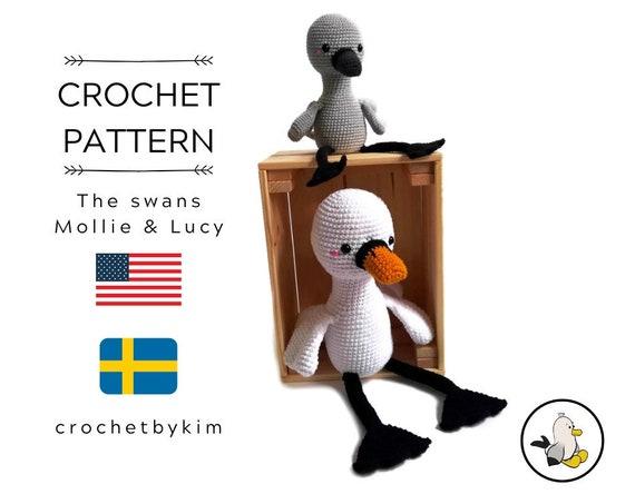 CROCHET PATTERN - Mollie and Lucy the swans - amigurumi pattern - crochet bird - stuffed bird - swan - plush bird - pdf