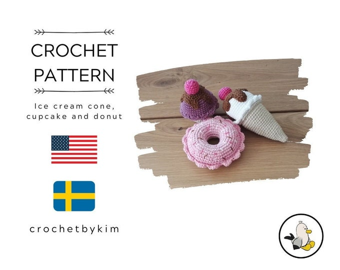 Crochet pattern - ice cream cone - donut - cupcake - playfood - amigurumi