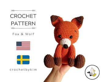 AMIGURUMI CROCHET PATTERN • wolf and fox • forest animal • woodland animal • stuffed animal • Instant Download • crochetbykim • pdf