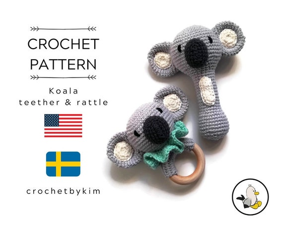AMIGURUMI CROCHET PATTERN • Koala teether • Koala rattle handle • Crochet amigurumi rattle teether ring • CrochetByKim