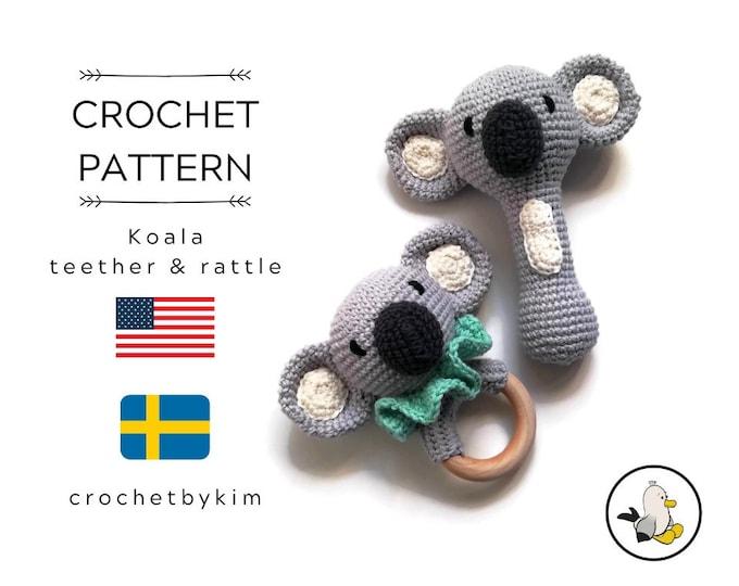 AMIGURUMI CROCHET PATTERN • Koala teether • Koala rattle handle • Crochet amigurumi rattle teether ring • CrochetByKim