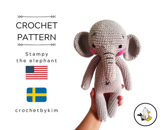 AMIGURUMI CROCHET PATTERN • Stampy the elephant • amigurumi pattern • Circus • Zoo • Stuffed animal • Easy pattern • pdf • Digital pattern