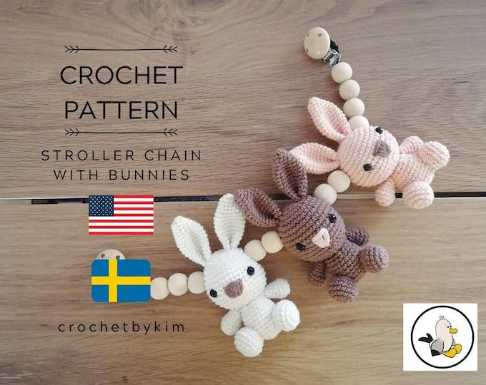 CROCHET PATTERN - stroller chain bunnies  - amigurumi bunny - stroller mobile - pram chain - baby toy - garland - kinderwagenkette - pdf