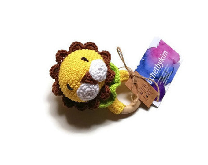 READY TO SHIP - handmade crochet - lion teething rattle wooden ring - baby toy newborn zoo
