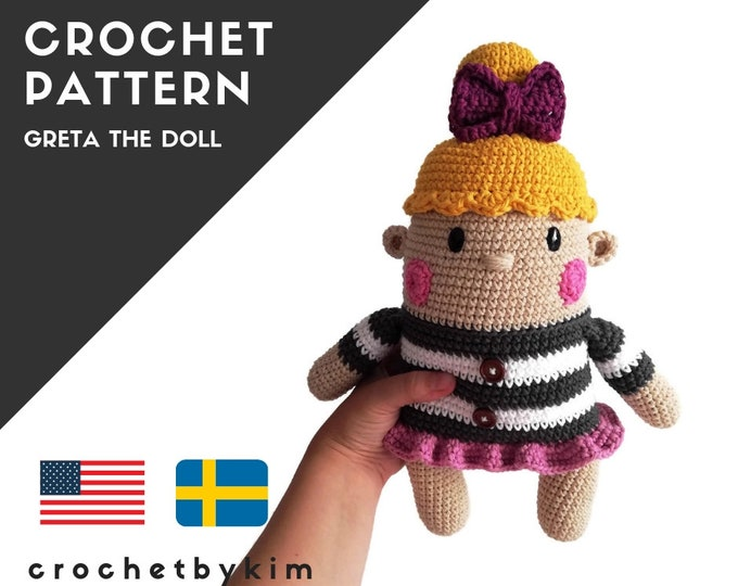AMIGURUMI DOLL PATTERN • Greta the doll • crochet pattern • Instant Download • interior doll pattern • crochetbykim