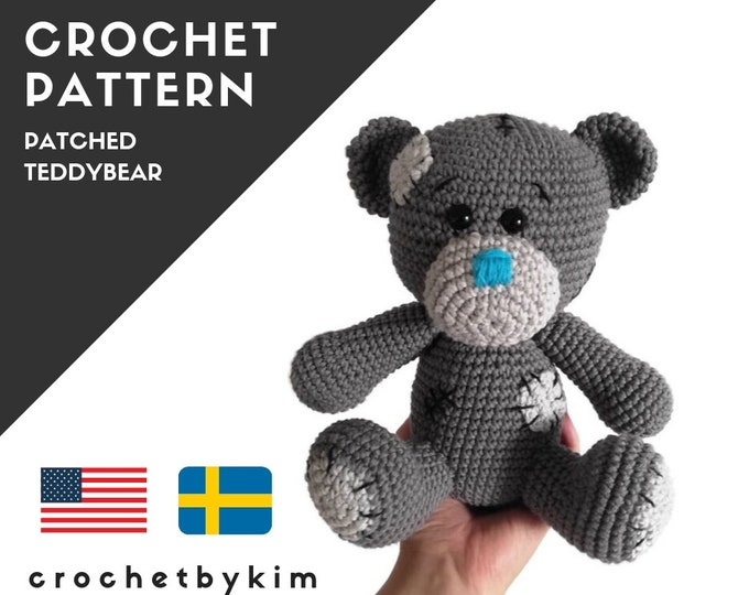 AMIGURUMI CROCHET PATTERN • Patched Teddybear • amigurumi bear • gray bear • stuffed toy • handmade teddy bear • pdf digital pattern