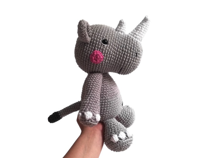 Handmade crochet rhino  • amigurumi rhinoceros  •  plushie • Safari animal • african animal • safari • crochetbykim • Ready to ship