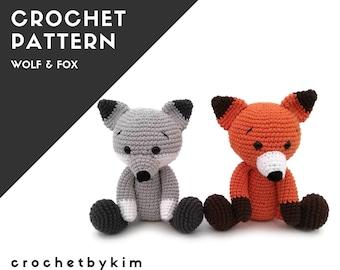 Crochet Pattern - wolf and fox - amigurumi wolf - crochet wolf fox pattern - forest animal - woodland animal - stuffed animal .pdf