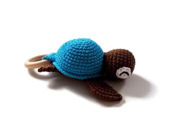 Crochet turtle teether - amigurumi turtle - rattle - teethering - handmade - baby teething ring - natural baby toy - animal rattle