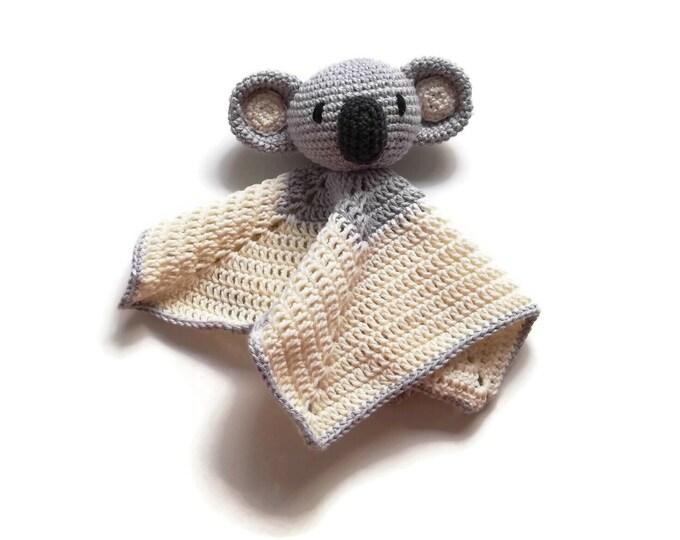READY TO SHIP: koala baby lovey - crochet - amigurumi - cute cuddly blanket - snuggle - toddler toy - newborn - safety blanket