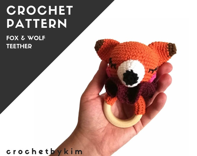 CROCHET PATTERN - amigurumi wolf fox - teether - teethering - rattle - wooden ring - woodland animals - newborn - download - crochetbykim