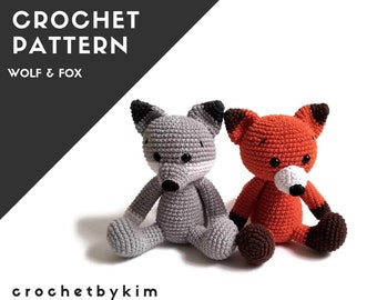 Pattern: wolf and fox - amigurumi wolf - crochet wolf fox pattern - forest animal - woodland animal - stuffed animal .pdf