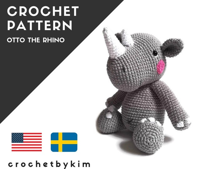 AMIGURUMI PATTERN • Otto the rhino • crochet animal pattern • crochet rhinoceros • african animal • wild animal • safari • crochetbykim