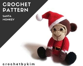 Pattern - amigurumi monkey - crochet christmas santa pattern - safari animals - jungle - zoo - monkey toy - diy - pdf