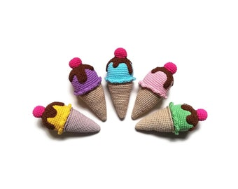 Crochet amigurumi ice-cream cone - Crochet food - Educational toys - Pretend food - Kids party - playfood - Crochet sweets - READY TO SHIP