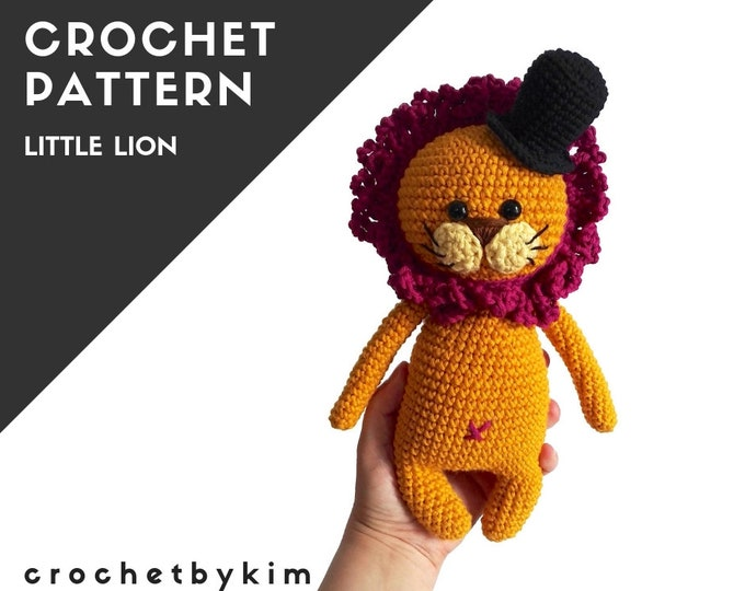 CROCHET PATTERN - lion with a hat - woodland animal - jungle - zoo - amigurumi - fashion lion - little kimimals - stuffed animal