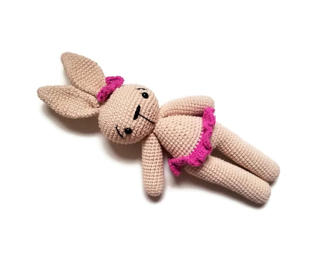 Crochet ballerina bunny - stuffed animal - dancing rabbit - plush - amigurumi - gift for girls - doll - crochetbykim