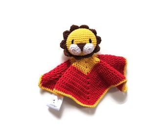 READY TO SHIP: lion baby lovey - crochet - amigurumi - cute cuddly blanket - snuggle - toddler toy - newborn - safety blanket