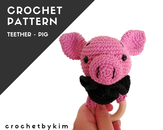 CROCHET PATTERN - Pig teether - crochet rattle - amigurumi pig - crochet teether - baby toy - handmade diy