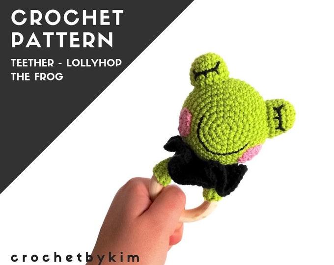 CROCHET PATTERN - teether - Lollyhop the frog - amigurumi frog - handmade toy - diy - Crochet Teething Ring - frog Rattle - pdf