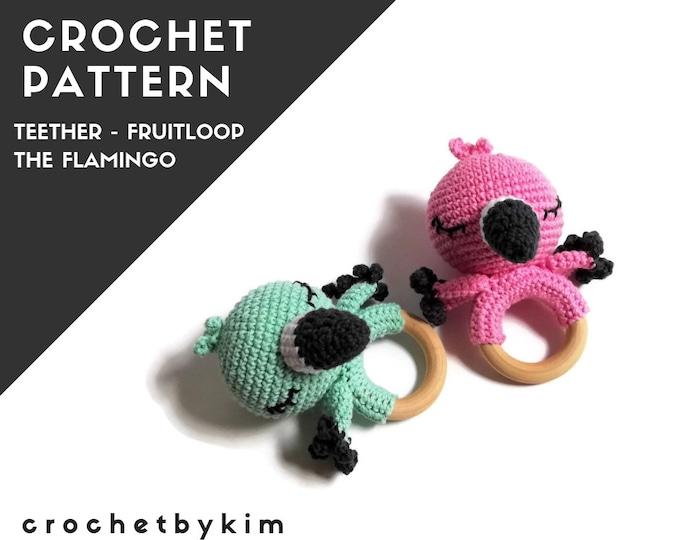 CROCHET PATTERN - amigurumi flamingo - teether - teethering - rattle - wooden ring - australian bird - newborn - download - crochetbykim