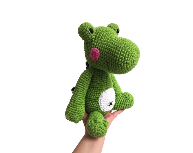 Handmade Crochet Crocodile - Amigurumi Alligator - Green stuffed animal - plush - reptile - crochetbykim - READY TO SHIP