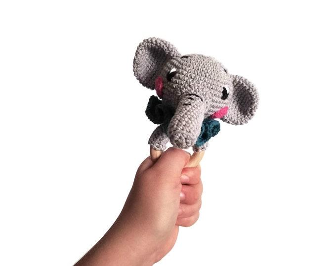 Crochet elephant teether - STAMPY the elephant - wooden ring - stuffed rattle - baby teething ring - zoo animal - amigurumi - animal rattle