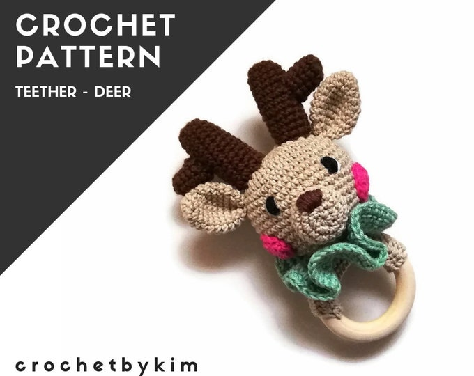 CROCHET PATTERN - amigurumi deer  - sweety the deer teether - teethering - rattle - animals - woodland - diy - pdf