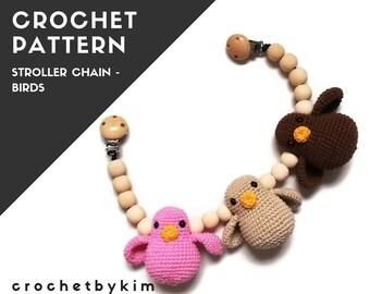 CROCHET PATTERN - Stroller chain with birds - amigurumi birds - kinderwagenkette - wagenspanner - vagnmobil - mobile - pram toy