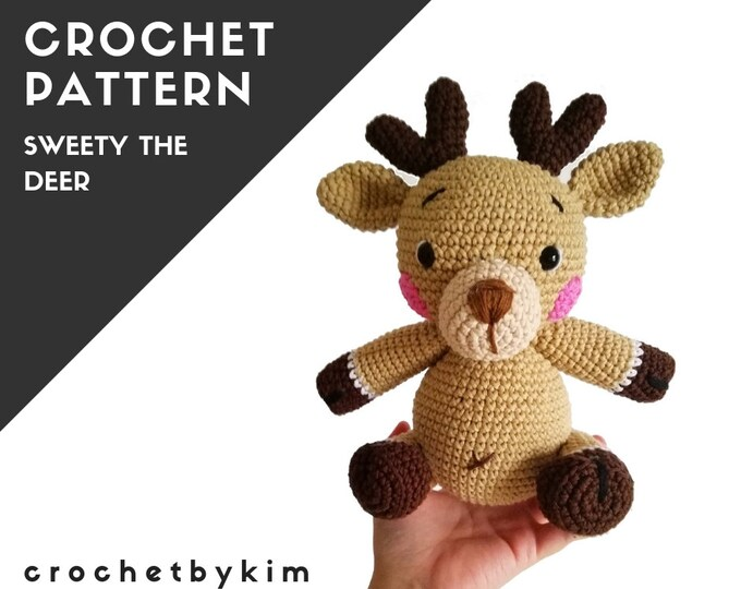 CROCHET PATTERN - amigurumi deer - sweety - woodland - forest animal - christmas - diy - digital pattern - crochetbykim