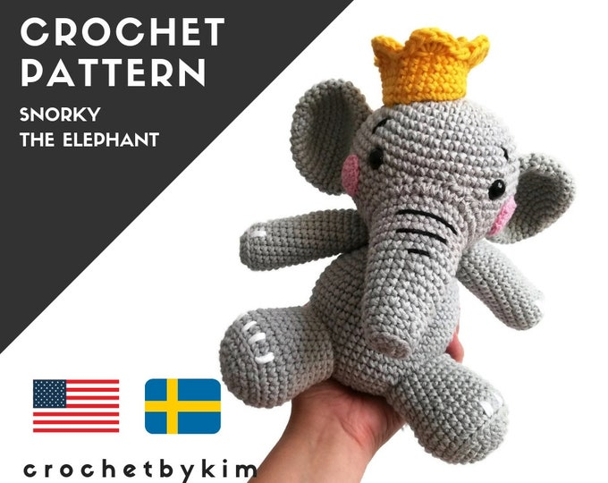 Crochet pattern - snorky the elephant - amigurumi pattern - amigurumi elephant - zoomigurumi - crochet animal - stuffed toy - pdf