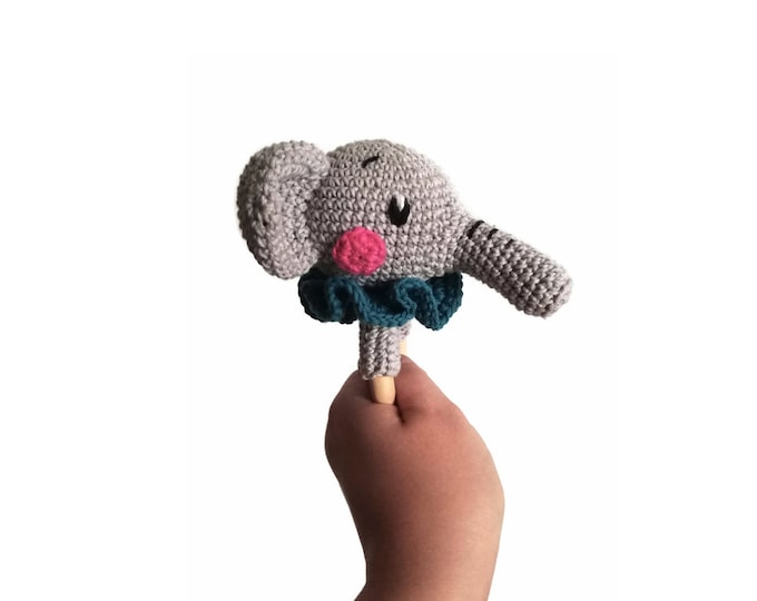 Crochet elephant teether - STAMPY the elephant - wooden ring - stuffed rattle - baby teething ring - zoo animal - amigurumi - animal rattle