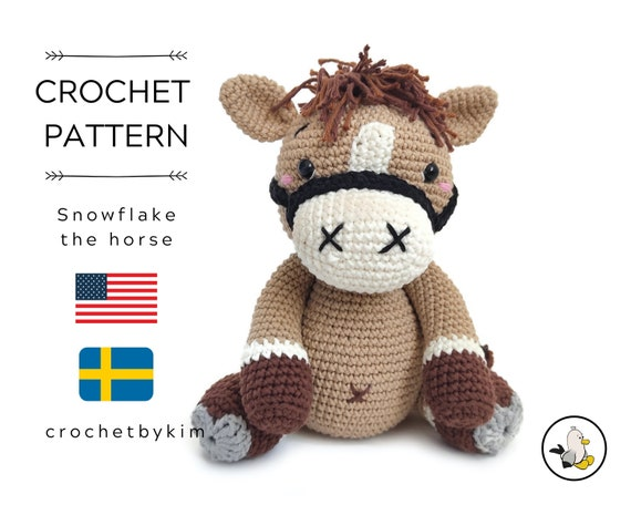 AMIGURUMI CROCHET PATTERN • Snowflake the horse • Amigurumi pattern • Farm animal • Zoomigurumi • Crochet Pony • Woodland • pdf