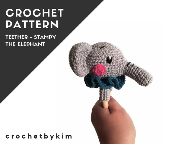 CROCHET PATTERN - amigurumi elephant - teether - teethering - rattle - wooden ring - zoo animal - newborn - download - crochetbykim